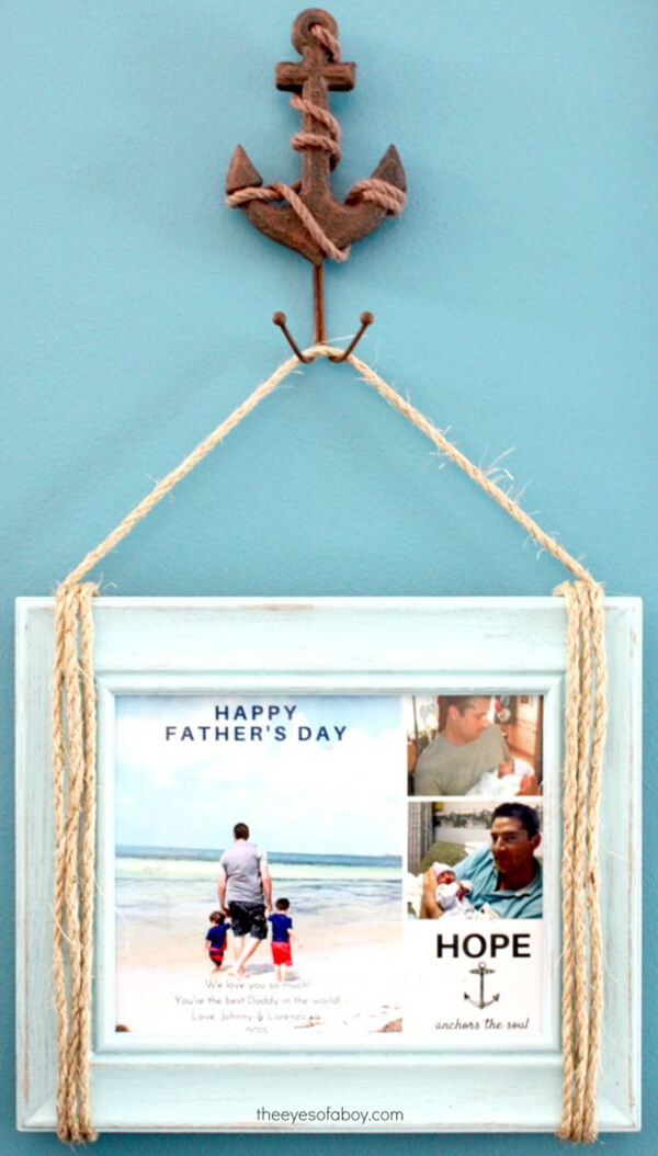 Nautical Rope Painted Wood Picture Frame
