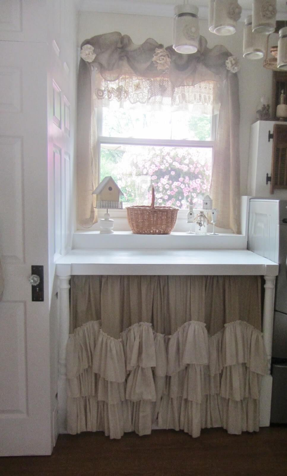 Neutral Tiered Ruffle Kitchen Cabinet Curtains