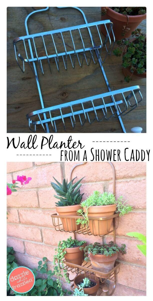 Easy Upcycled Shower Caddy with Plants