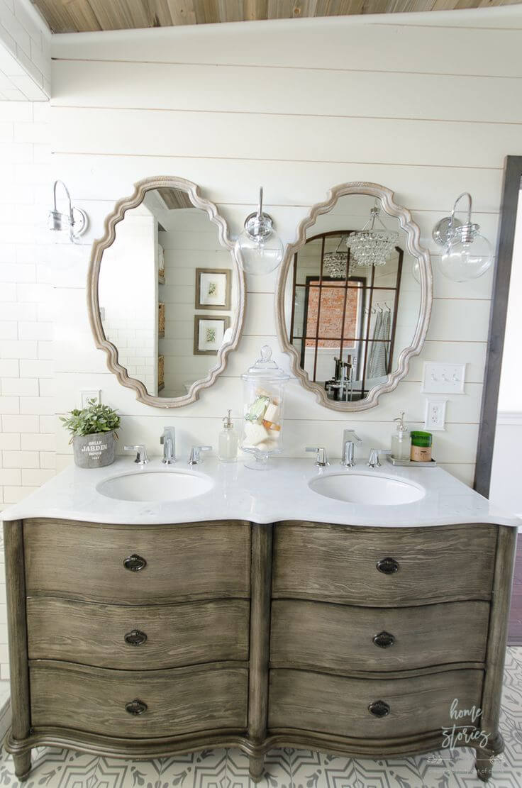 Pair of Charming Dual Vanity Sink Mirrors
