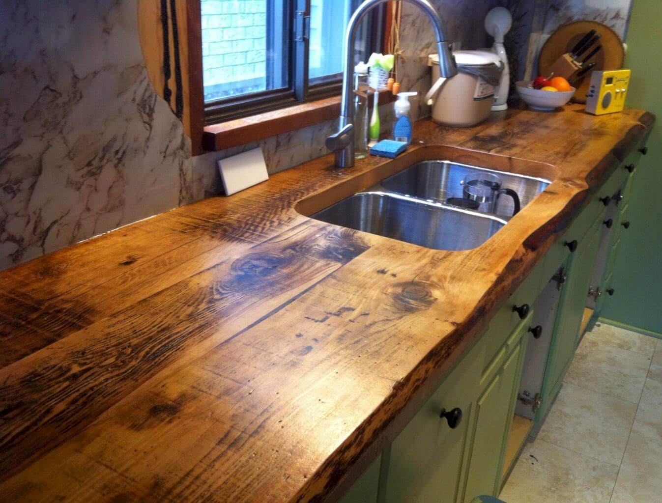 Double Sink in a Rustic Wood Counter