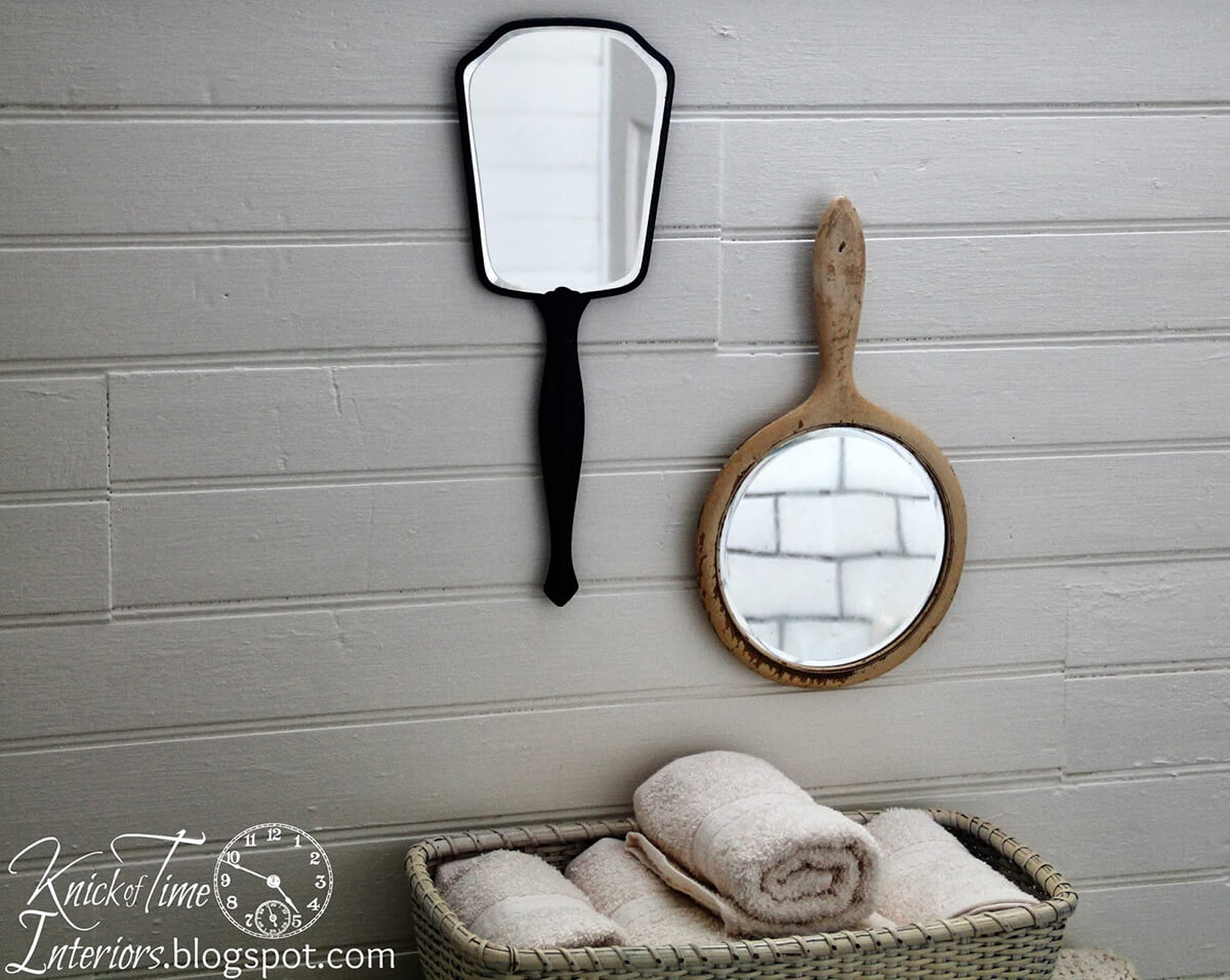 Hang Vintage Hand Mirrors on the Wall
