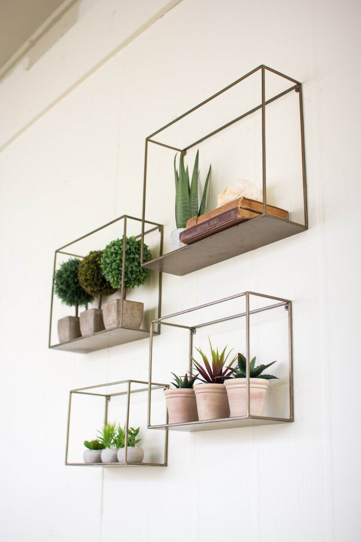 Understated Hanging Wall Shelving with Plants