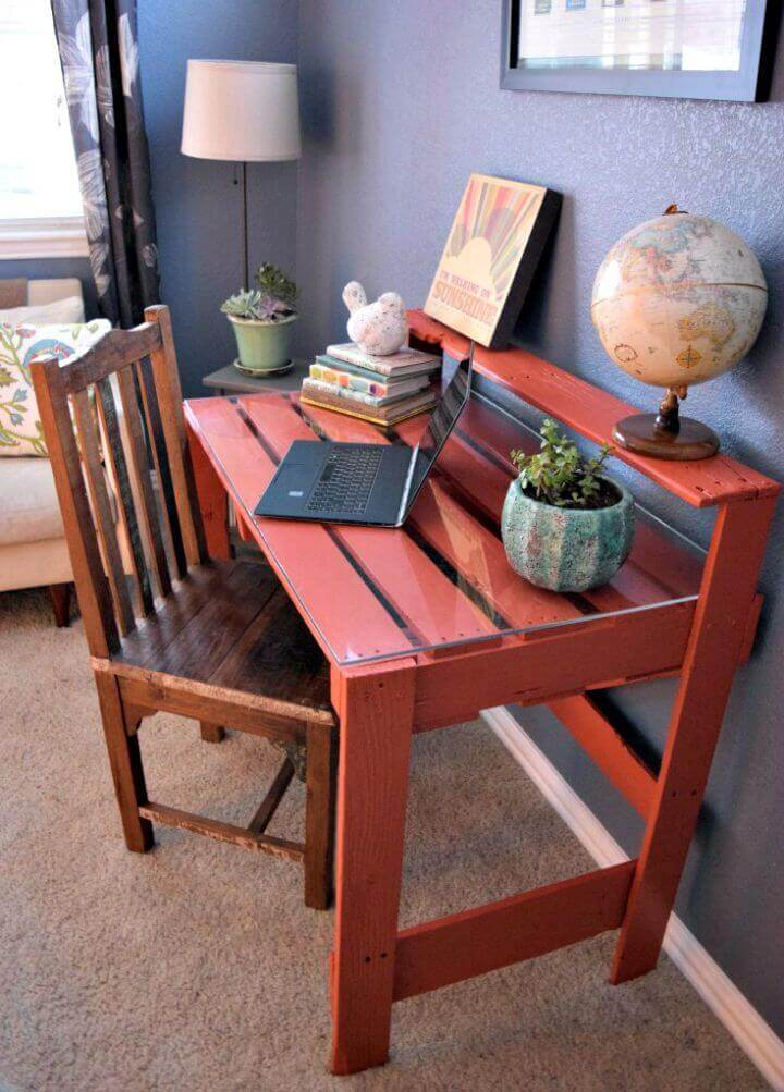 Rustic Slat Desk with Glass Top