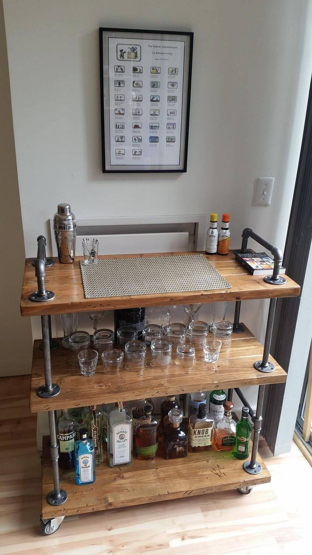 Wood and Plumbing Pipe Bar Cart