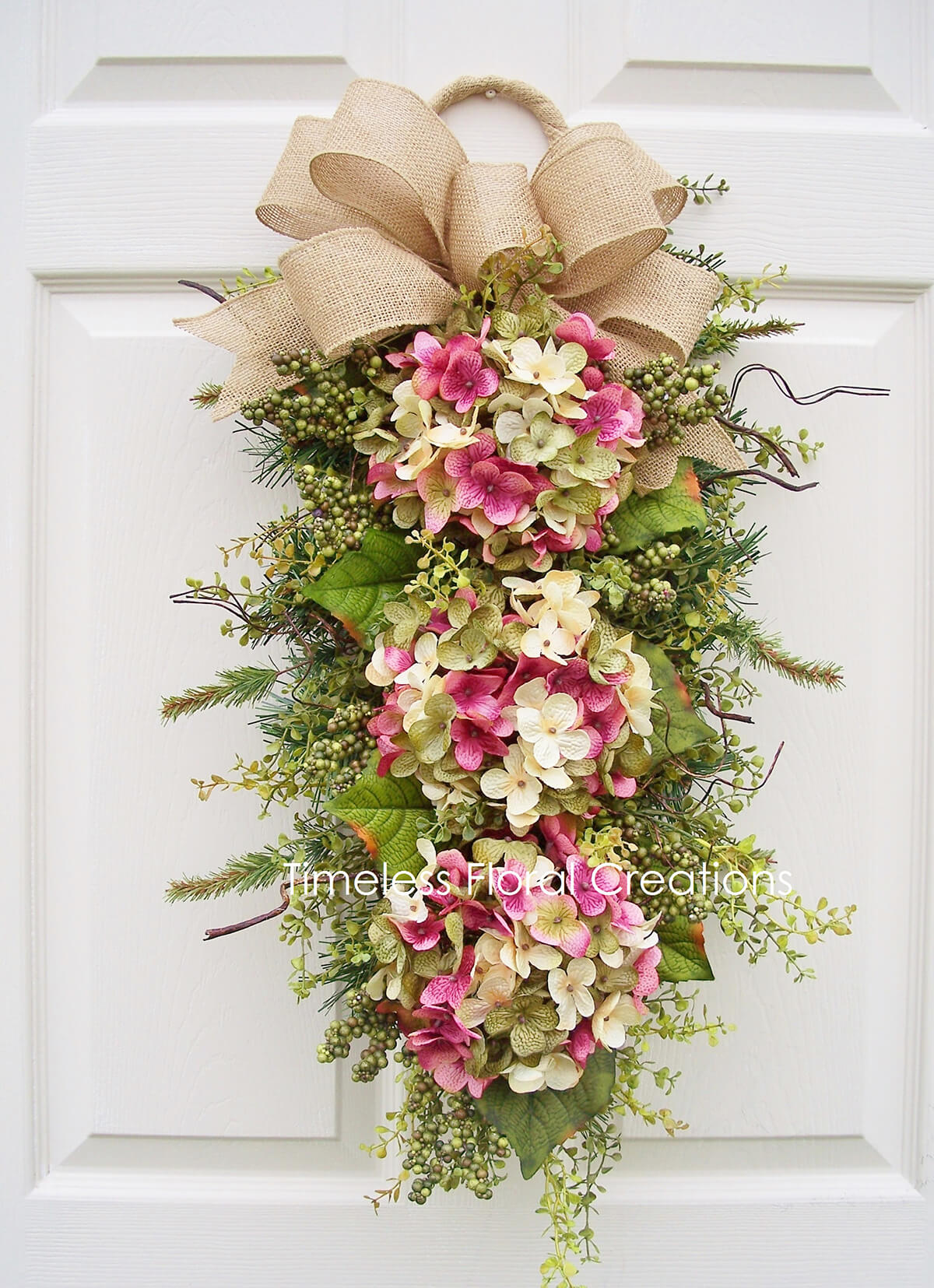 Cascading Hydrangea Blossoms and a Burlap Bow
