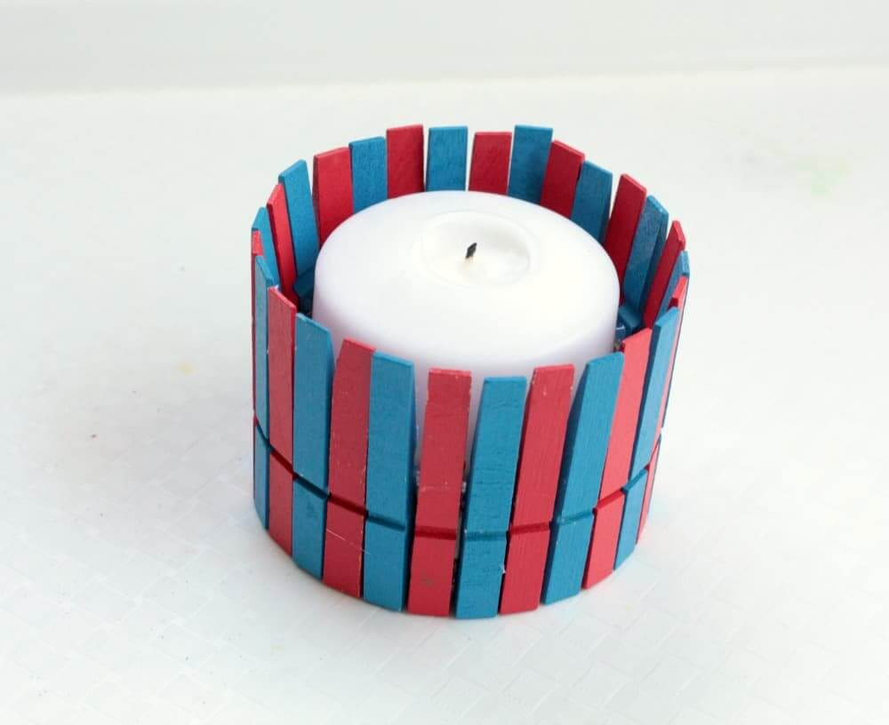 Unique Crafted Clothespin Candle Holder