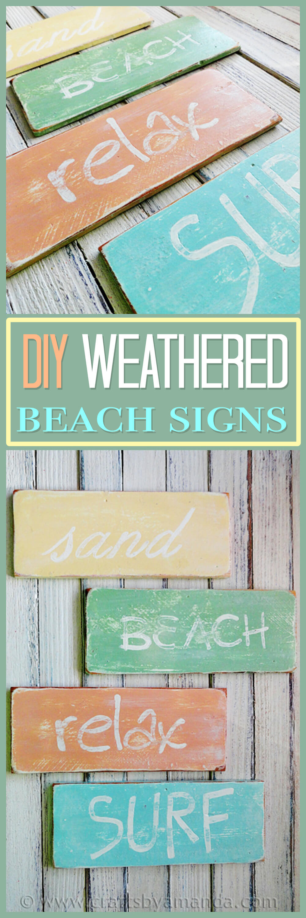 Weathered beach themed wooden sign
