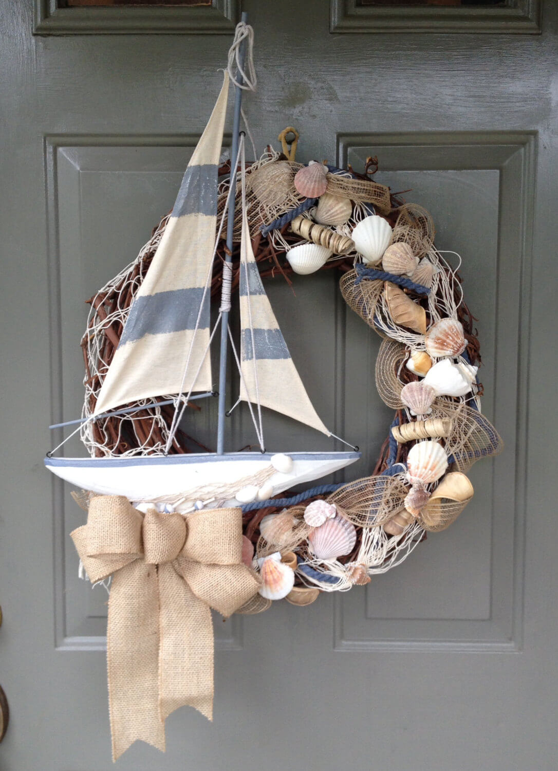 Ocean Themed Wreath with a Sailboat