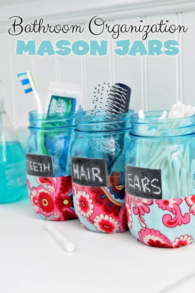 Mason Jar Toiletry Organizers with Chalkboard Labels