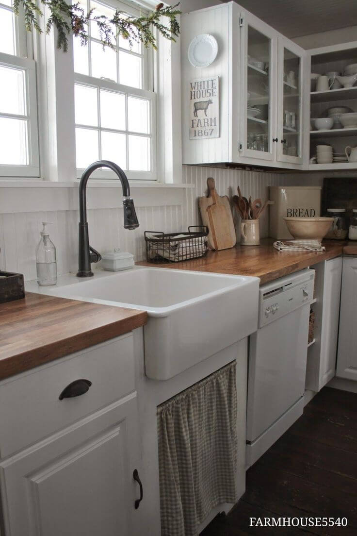 Charming Kitchen Sink with Checkered Curtain