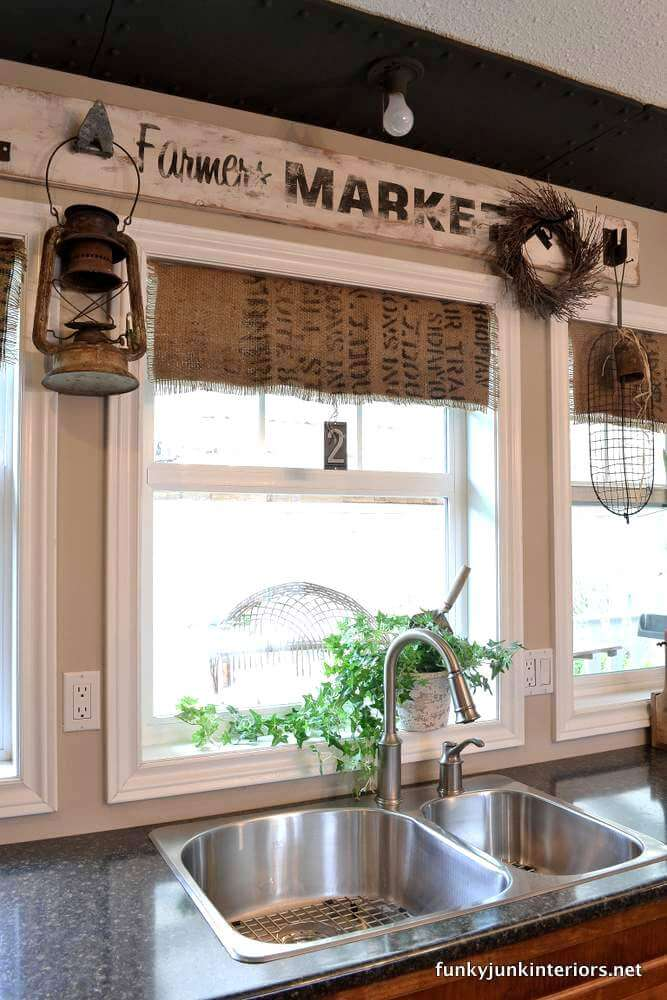 Rustic Valances Made from Printed Sacks