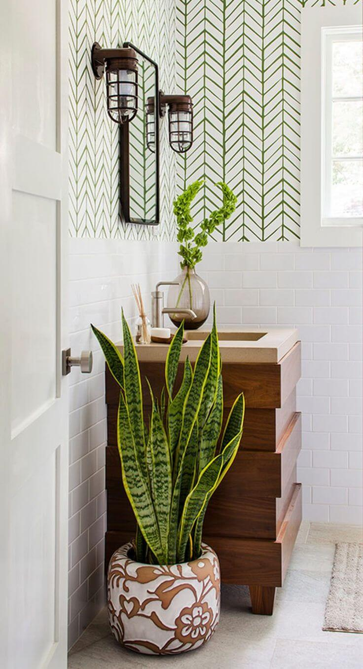 Elegant Bathroom with Graphic Wallpaper and Plants