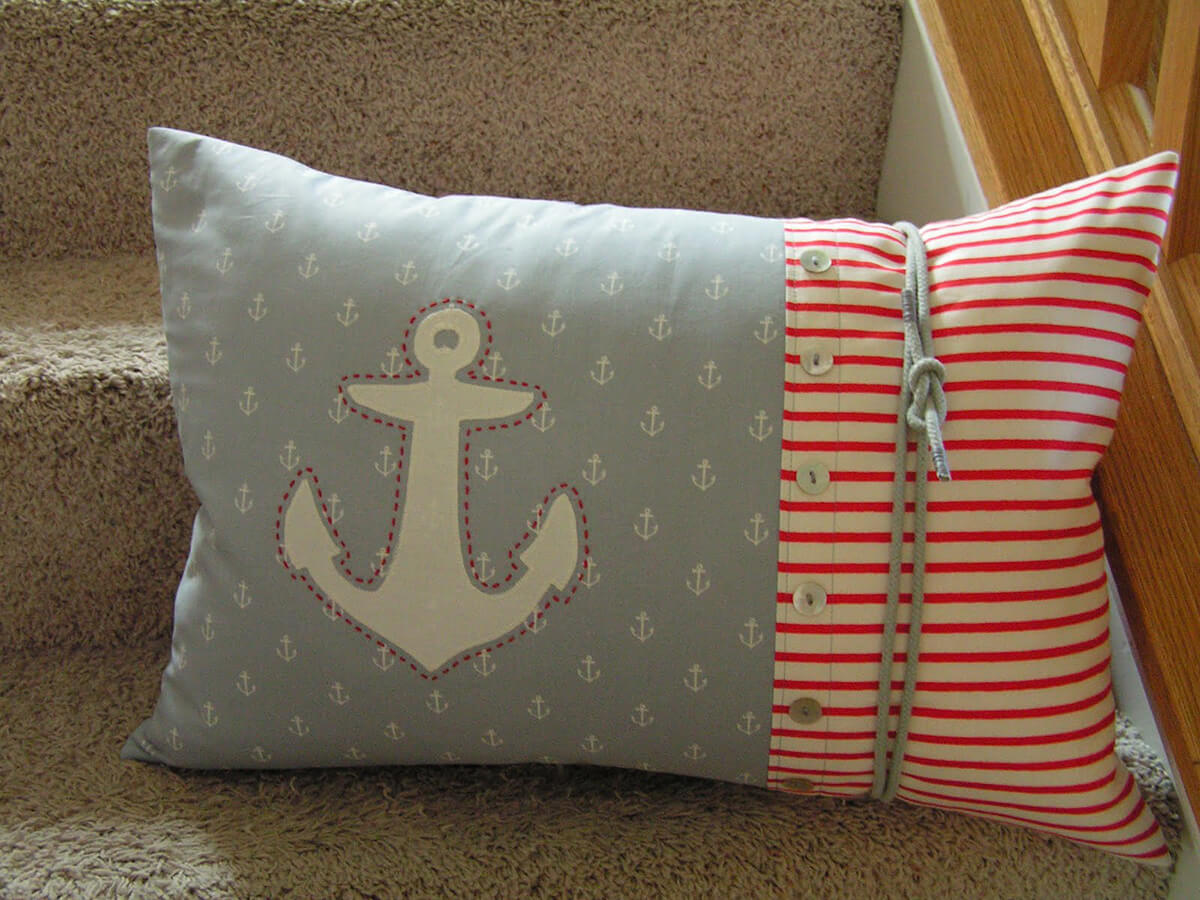 Sailing Theme Colorful Anchor Pillow