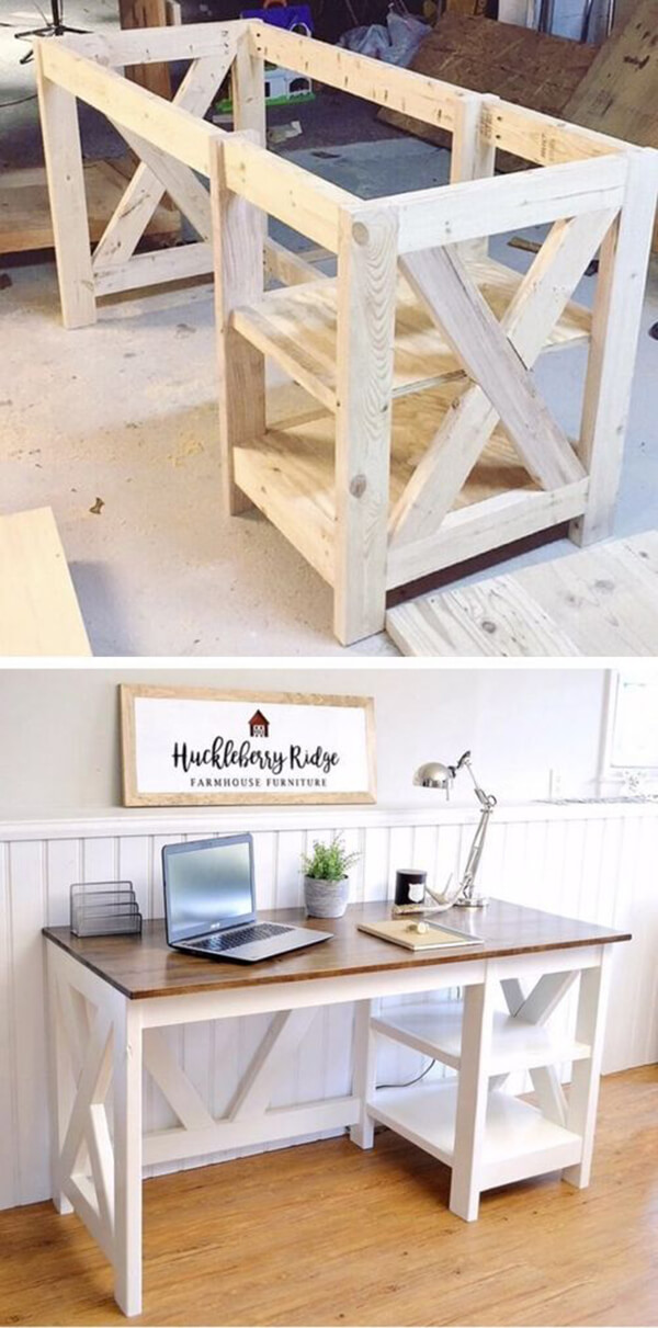 DIY Desk Ideas With X Shaped Ends Nice Ideas