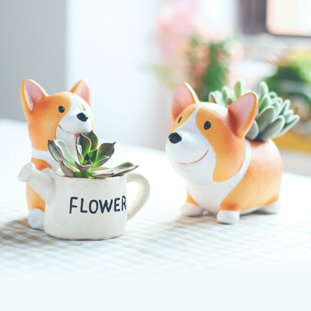 Tiny Corgi Dog Pots with Cute Plants