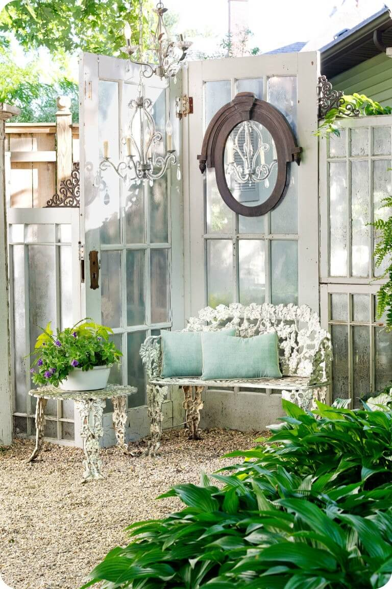 Graceful Garden Corner with Old Doors