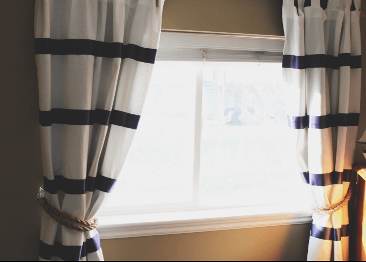 Rope Tied Blue and White Striped Curtains