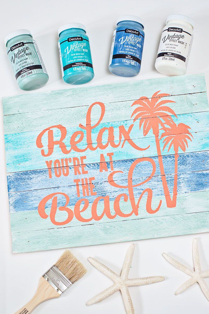Calming Blue Sign with Peach Lettering