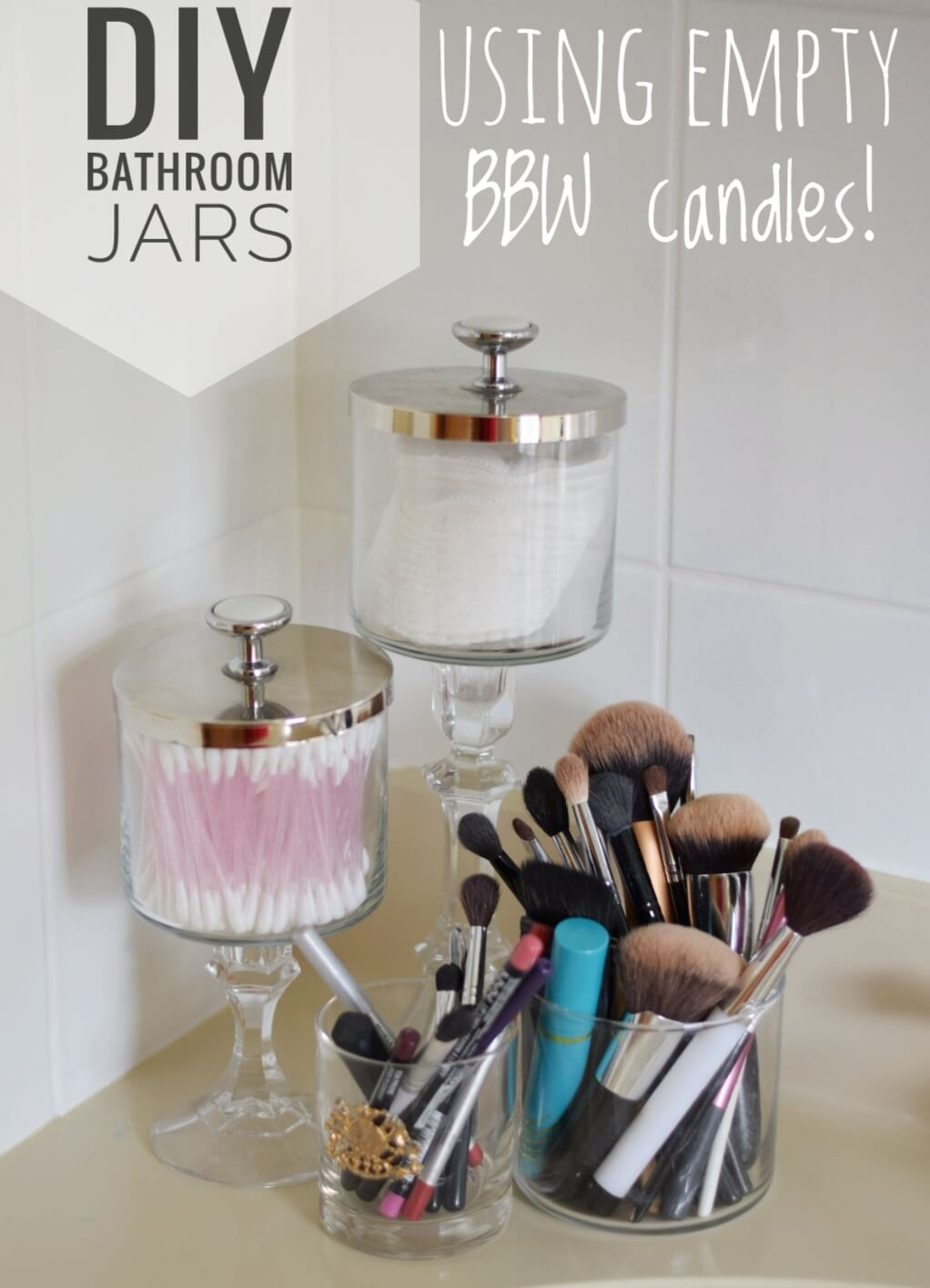 Upcycled Candles Jars Turned Vanity Canisters