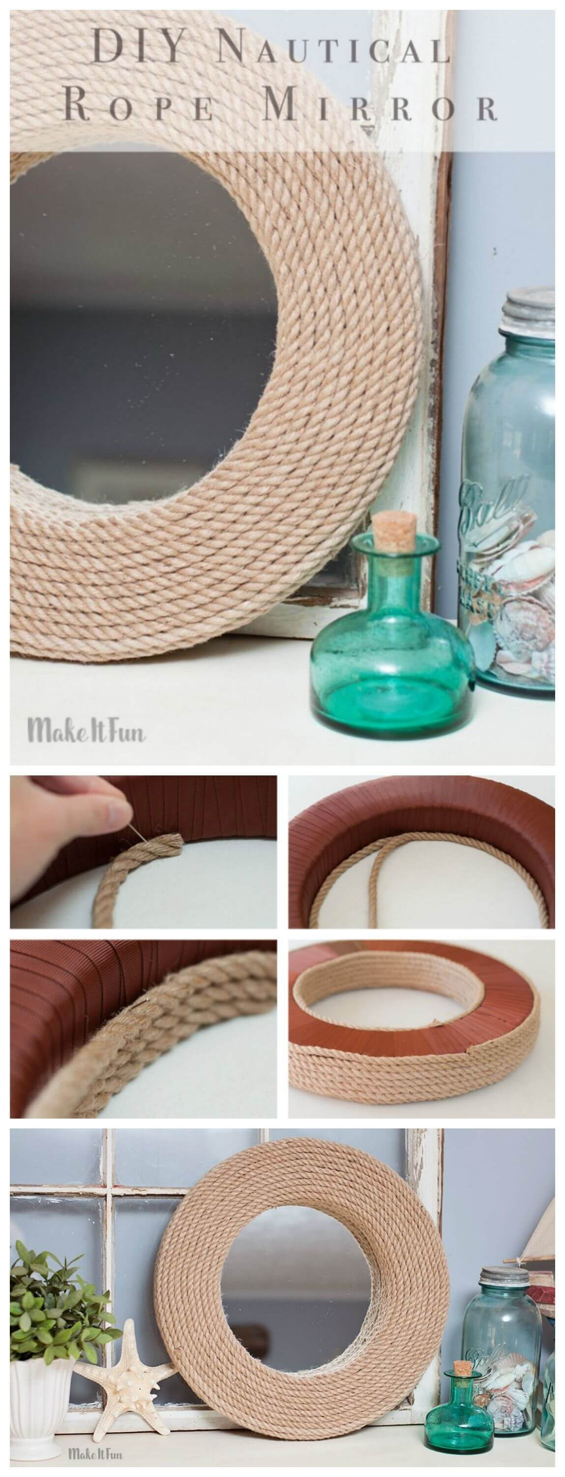 20 Upcycle An Old Mirror With Rope