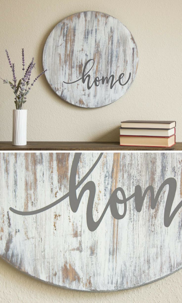 """Home"" Sign on Distressed Wood Circle"