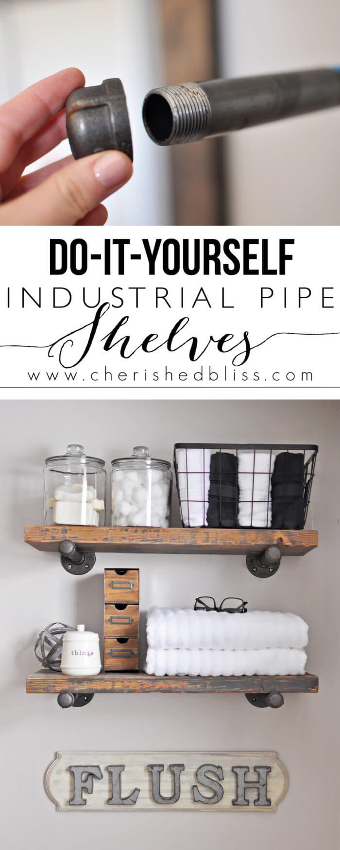DIY Industrial-Style Bathroom Shelving