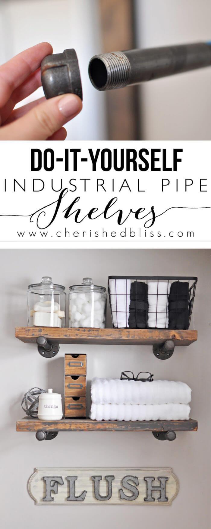 DIY Industrial-Style Bathroom Shelving & 42 Best DIY Bathroom Storage and Organizing Ideas for 2018