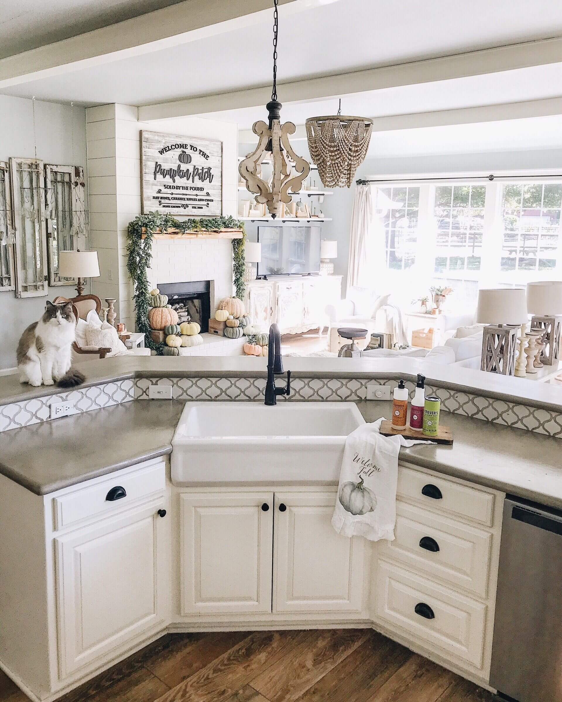 Farmhouse Sink in the Island Corner