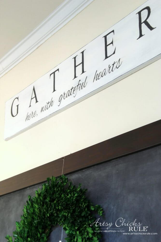 Grateful Gathering Sign High on the Wall
