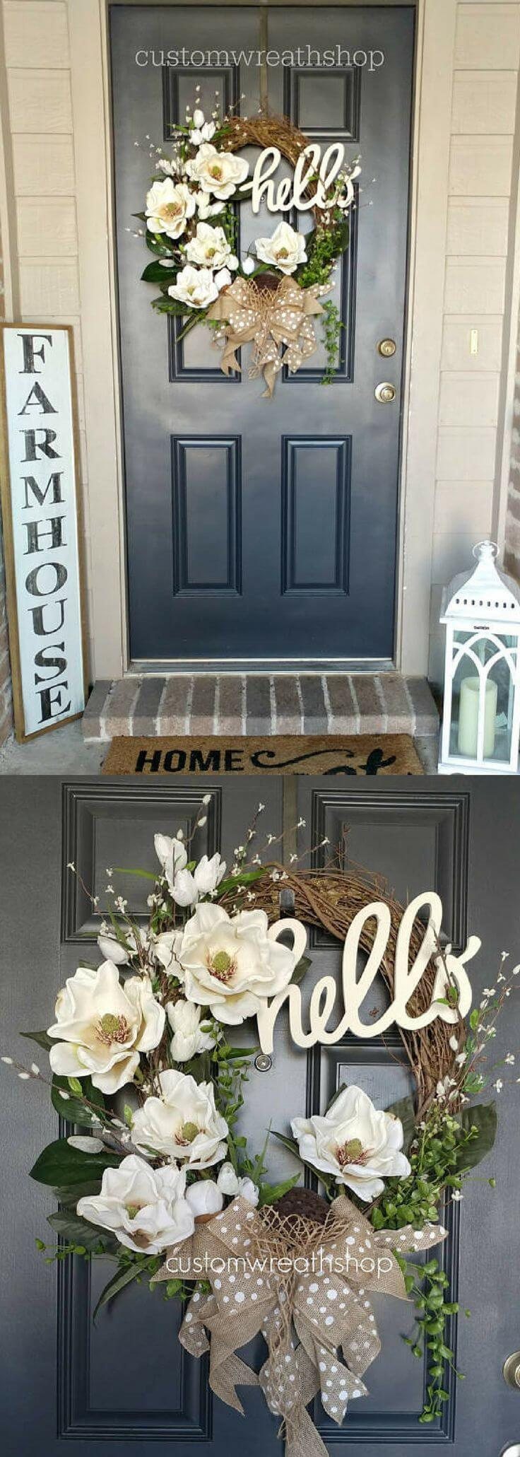 Beige and White Wreath with a Hello Sign