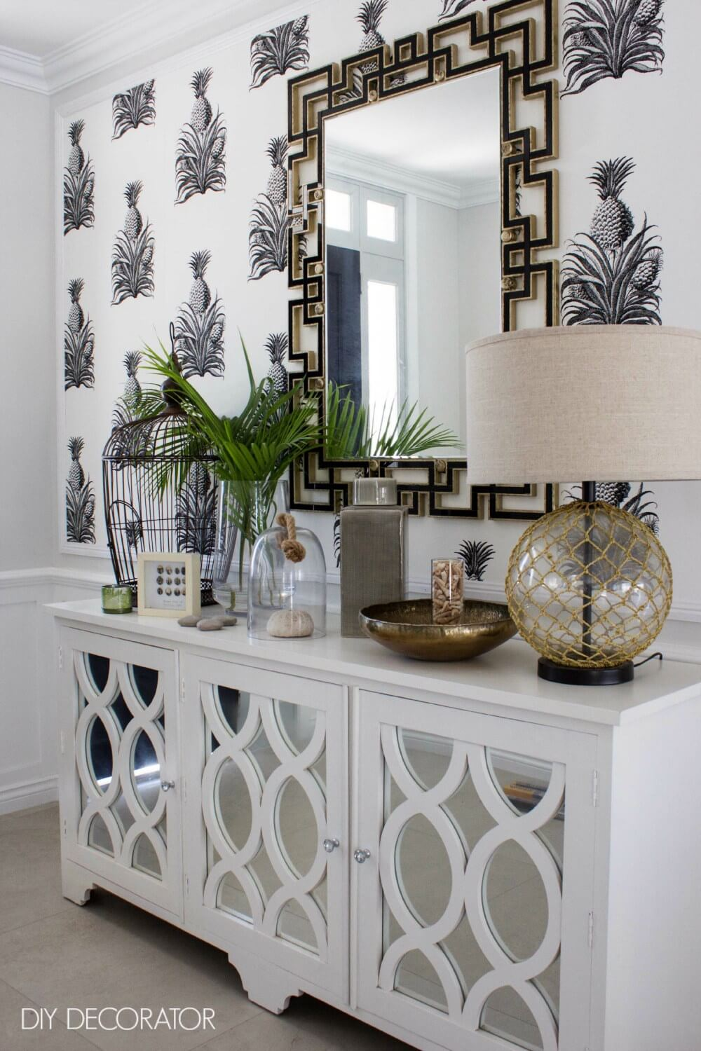 Mirrored Sideboard and Pineapple Wallpaper