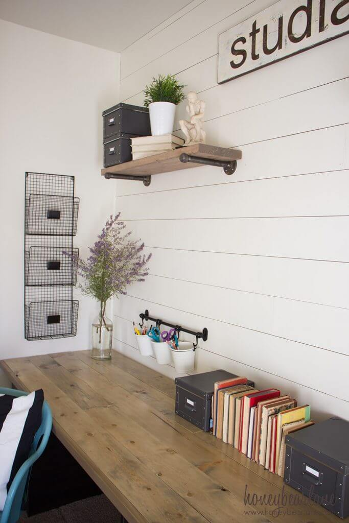 Simple Desk With Ample Wall Storage Great Pictures