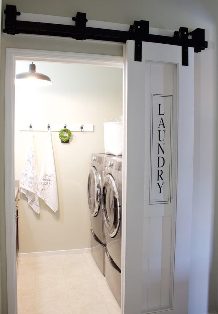 Laundry Sign Painted on Sliding Door