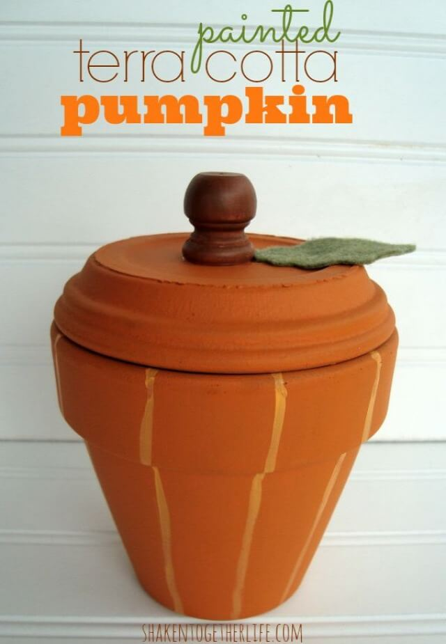 Adorable Terra Cotta Pumpkin Pot