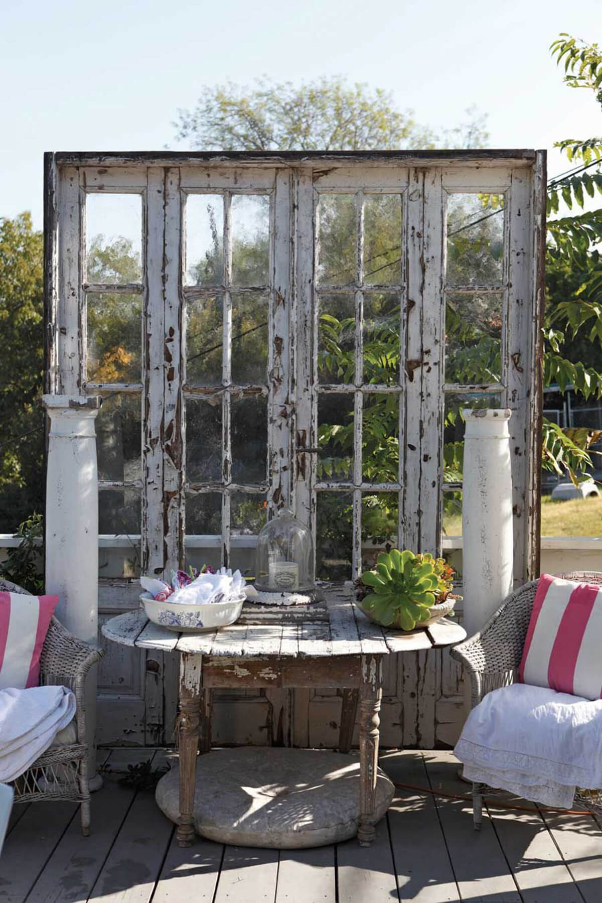 Weathered French Doors as a Backdrop