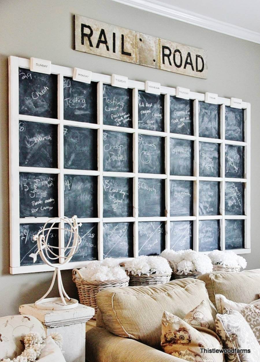 Chalkboard Family Schedule Grid on the Wall