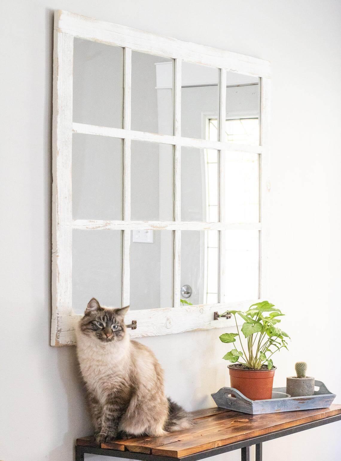 Distressed White Farmhouse Old Window Mirror