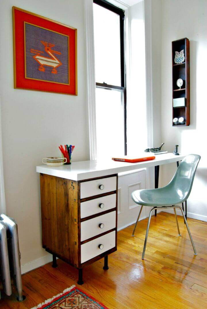 Understated White Desk with Drawers