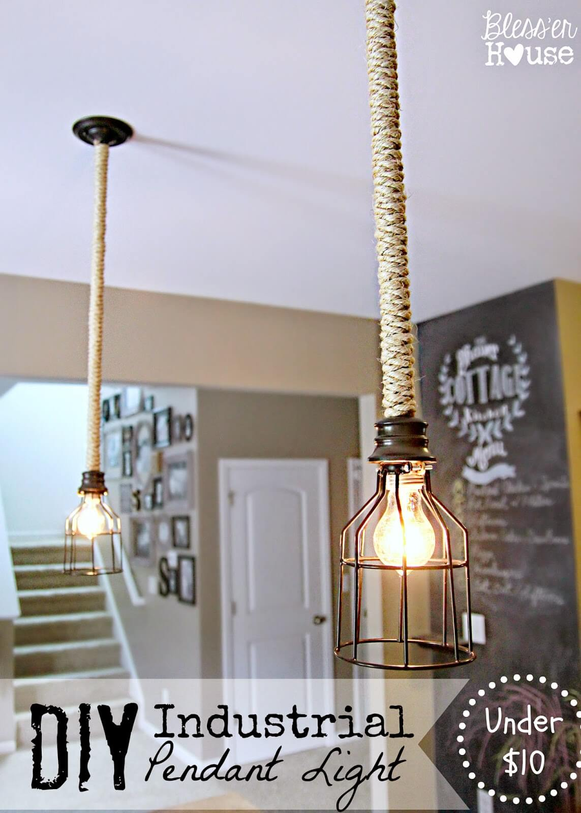 Pendant Lights with Woven Rope Supports