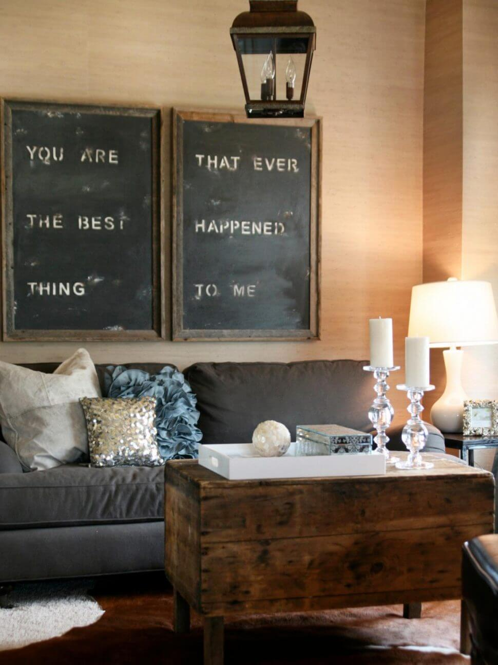 Oversized Stenciled Signs Over the Sofa