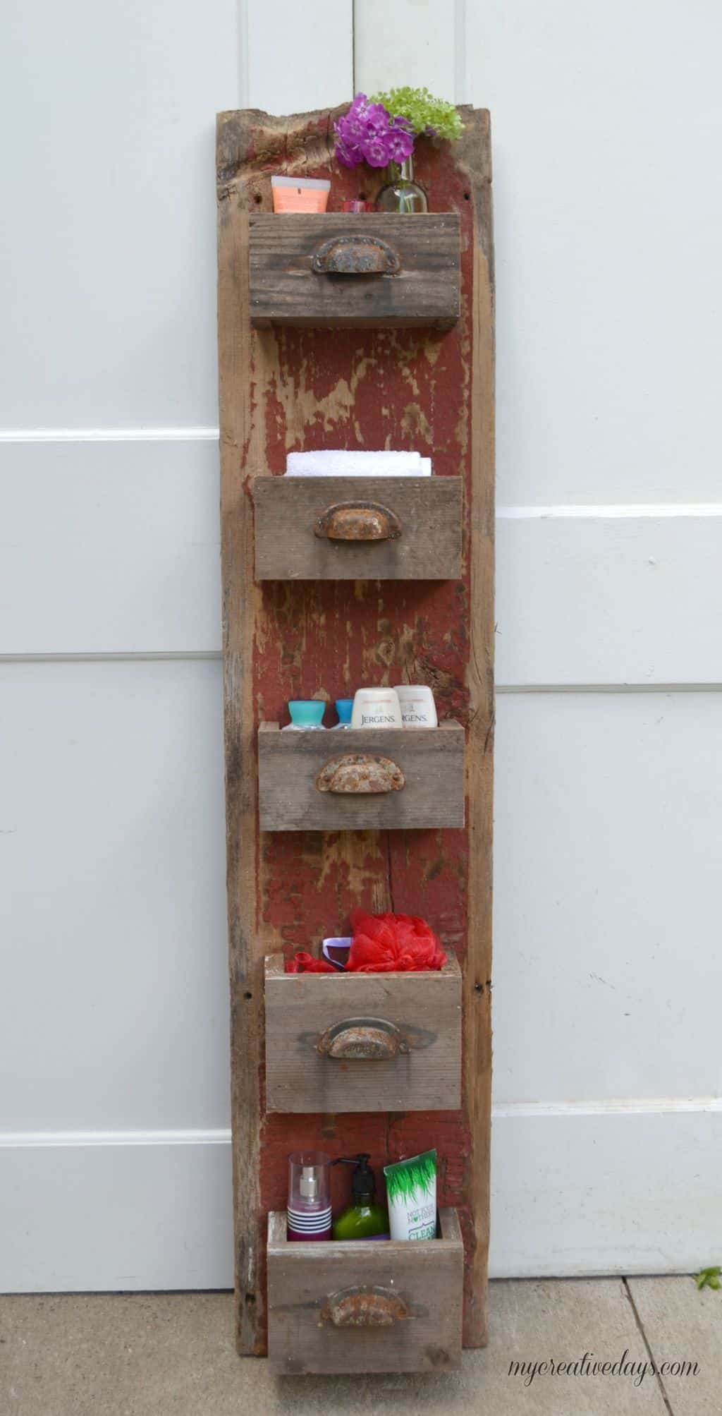 Repurposed Mini-Shelf Set from Vintage Drawers