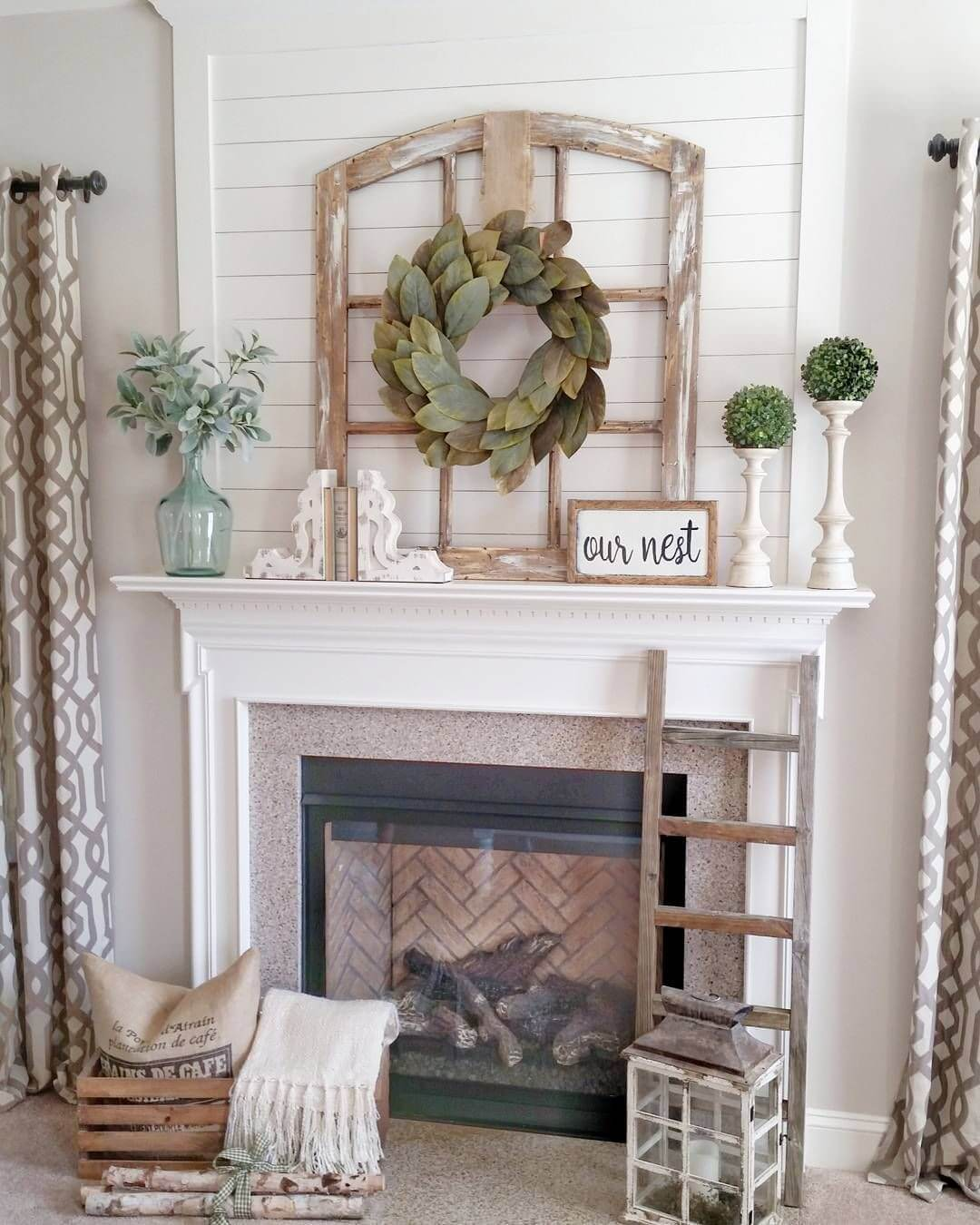 Window Frame with Bay Leaf Wreath