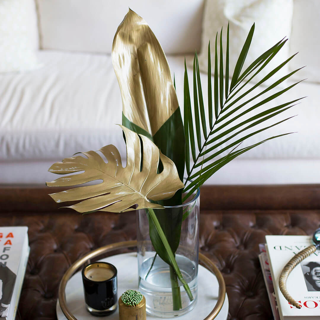 Dip Tropical Foliage in Gold Paint
