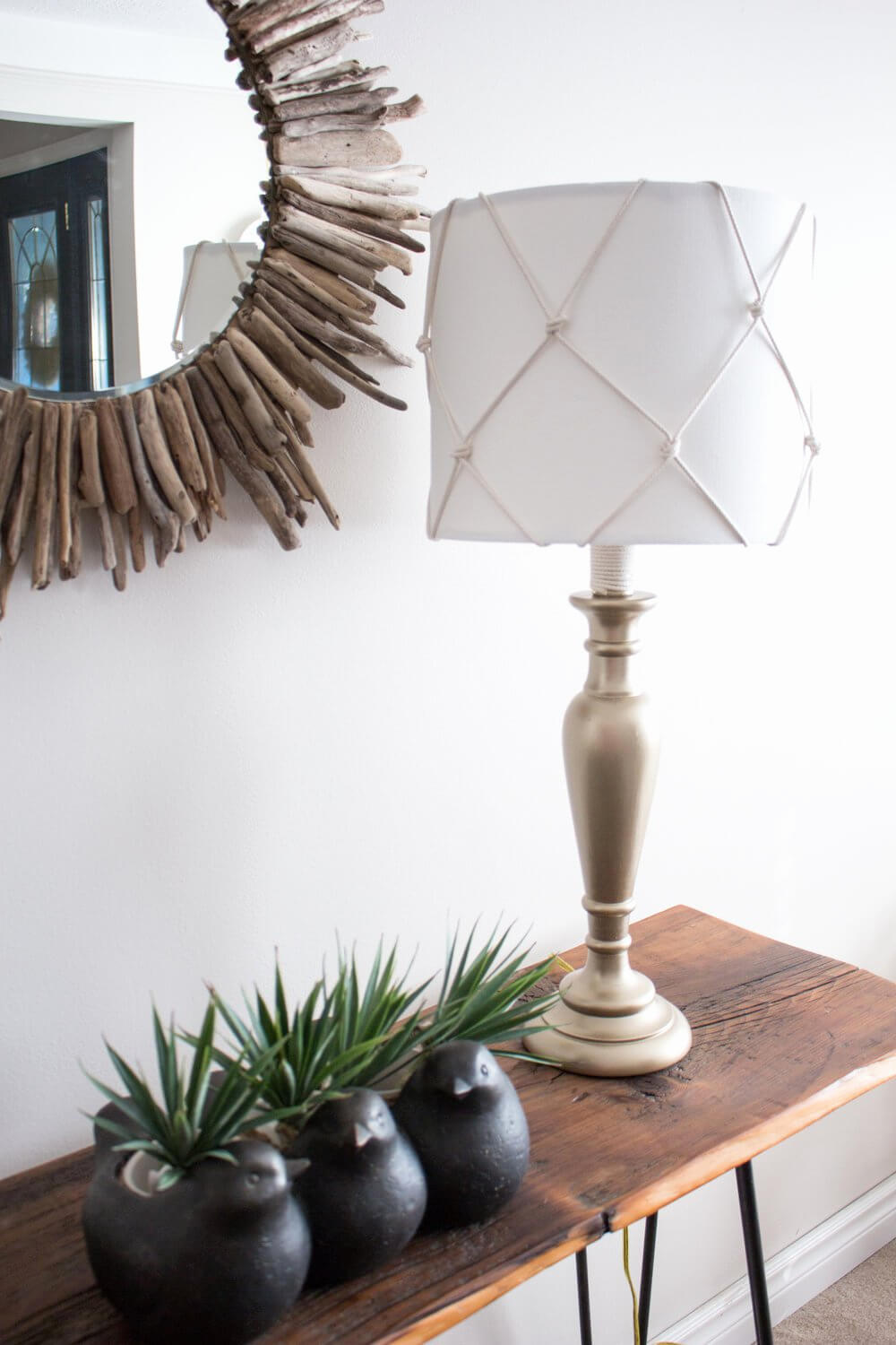 Net Wrapped Lamp Shade and Driftwood Mirror