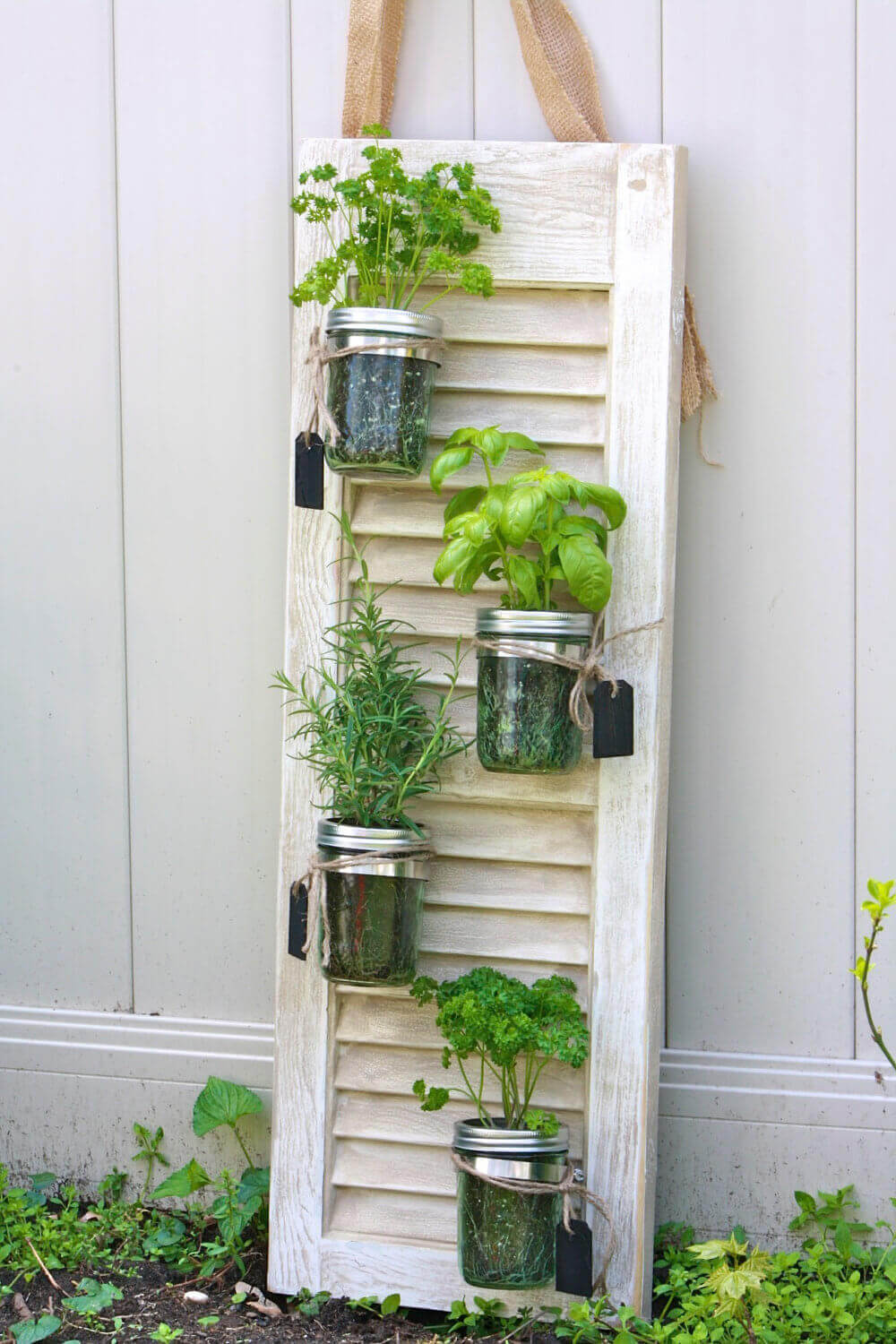 Handy Hanging Herb Garden on a Shutter