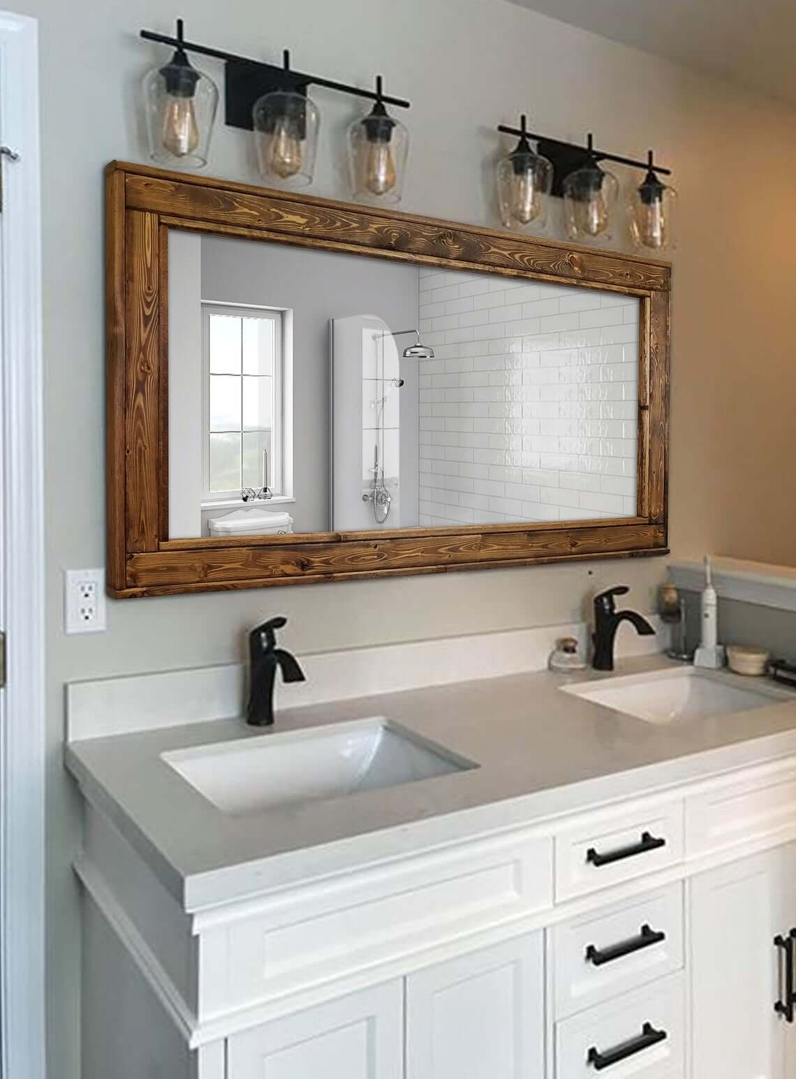Stunning and Rich Wood Trimmed Vanity Mirror