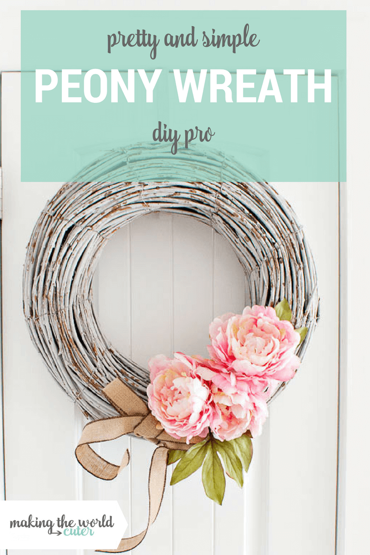 Understated Peony Wreath with Whitewashed Wood