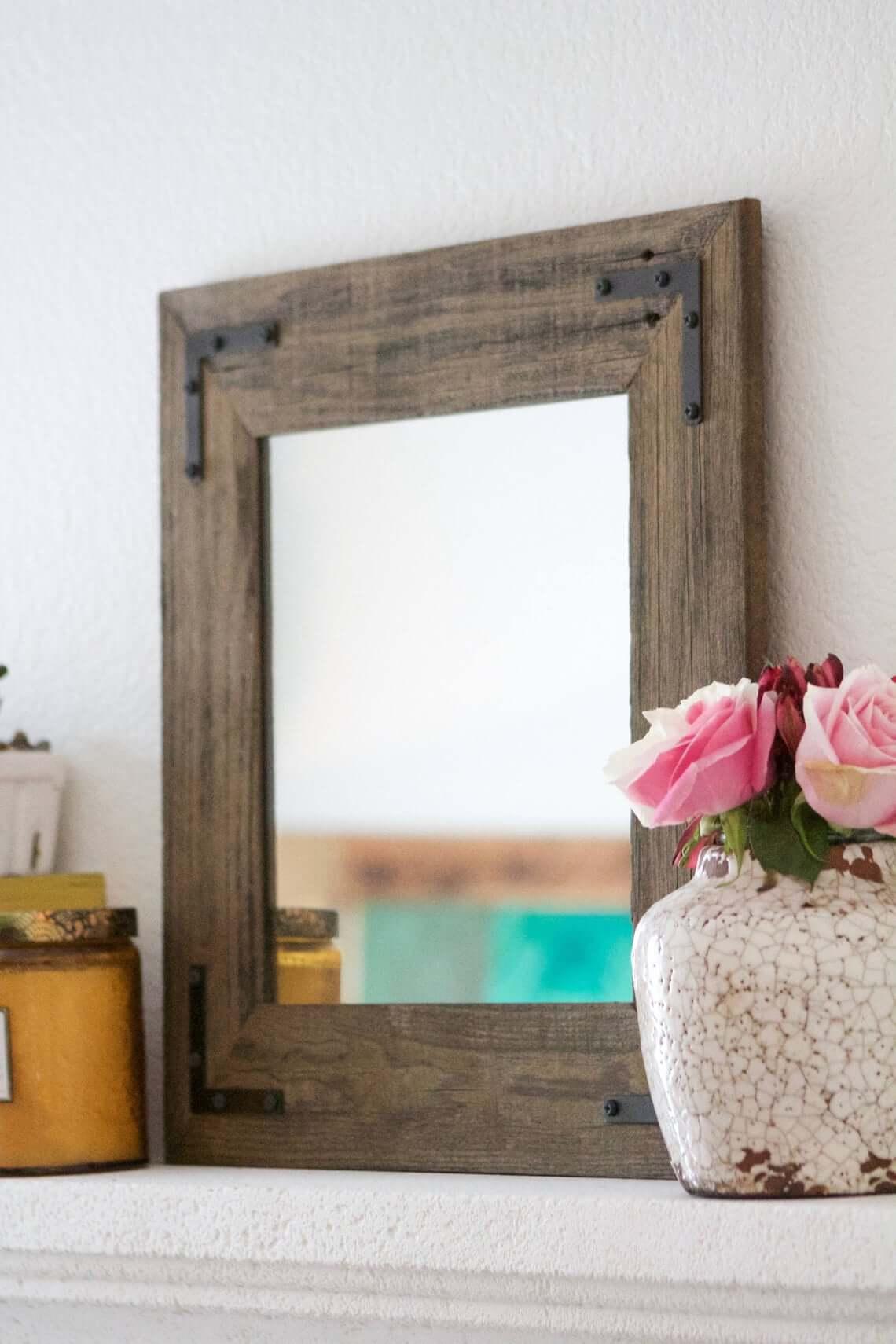 Rustic Wood and Metal Brackets Farmhouse Mirror
