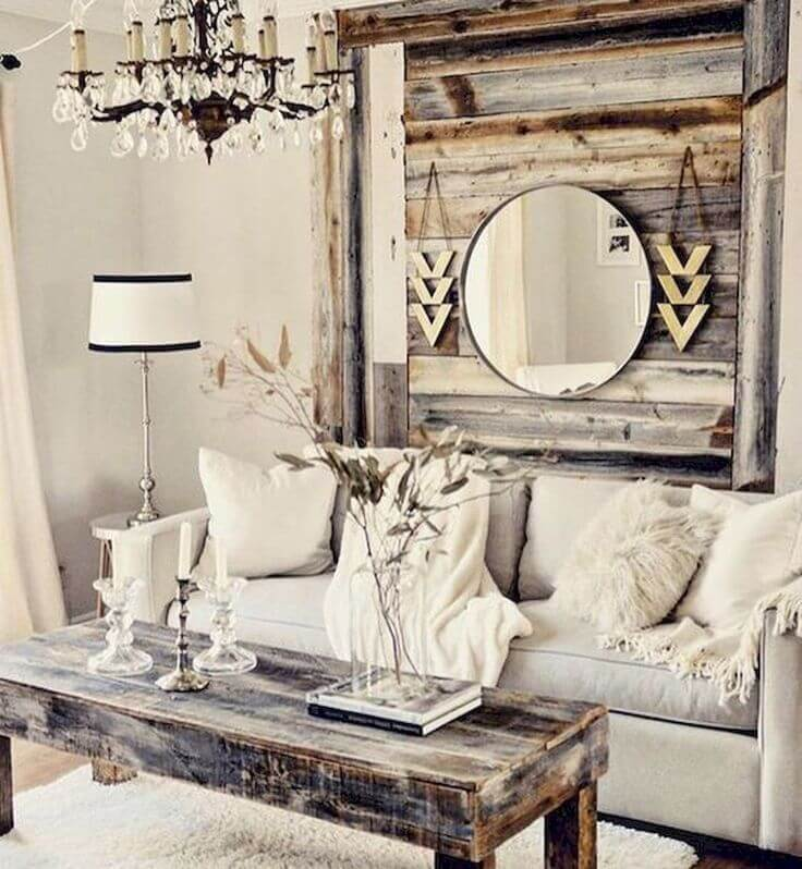 Pallet Inspired Wooden Hanging with Mirror